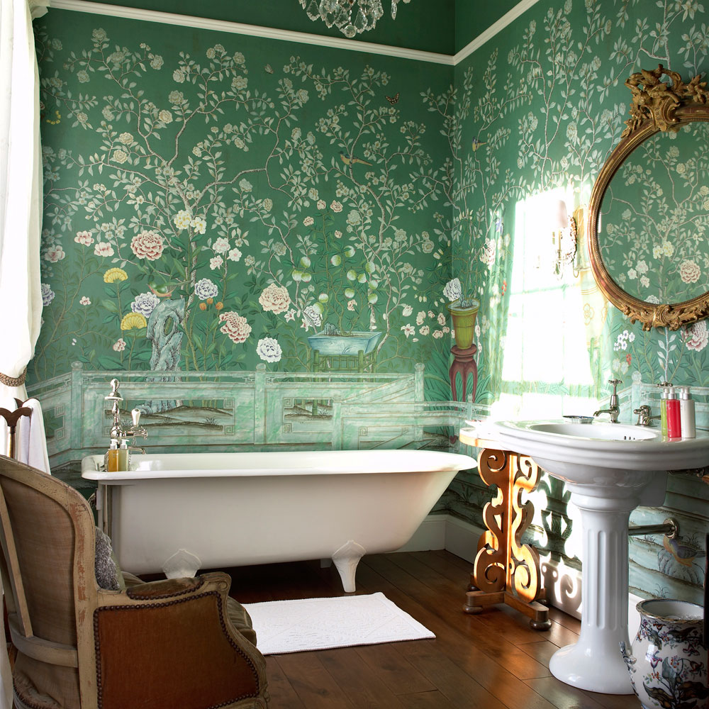 excellent-vintage-bathroom-wallpaper-also-classic-white-bathtub-and-rustic-mirror