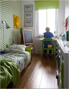 A great option for a small narrow room - all furniture against the walls